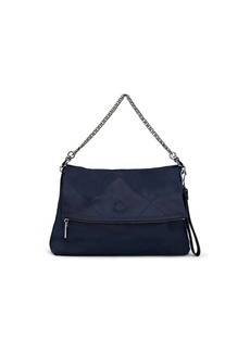 Deux Lux Women's Oversized Quilted Satin Roll Clutch - Navy