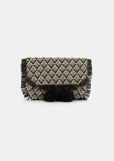 Barneys New York Women's Pom-Pom Straw Clutch - Black