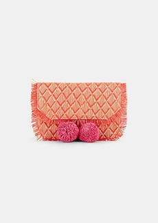 Barneys New York Women's Pom-Pom Straw Clutch - Pink