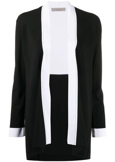 D.Exterior contrast-trimmed knitted cardigan