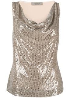 D.Exterior glitter cowl-neck blouse