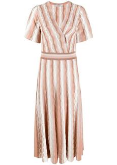 D.Exterior metallic-knit stripe dress