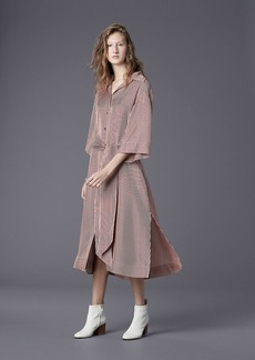 ¾ Sleeve Belted Shirt Dress