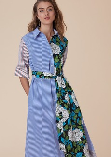 ¾-Sleeve Belted Shirtdress