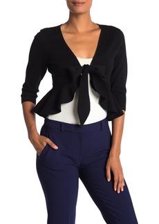 Diane Von Furstenberg 3/4 Length Sleeve Front Tie Wool Blend Sweater