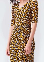 Diane Von Furstenberg Abbie Mesh Faux-Wrap Bodysuit in Arrow Head
