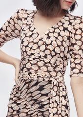 Diane Von Furstenberg Abbie Mesh Faux-Wrap Bodysuit in Leaf Twig Medium Black