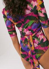 Diane Von Furstenberg Abbie Mesh Faux-Wrap Bodysuit in Oasis