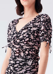 Diane Von Furstenberg Abriella Reversible Mesh Top in Tulle Flower