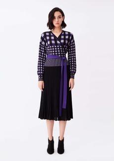 Diane Von Furstenberg Ada Knit Wrap Top in Purple White Gingham