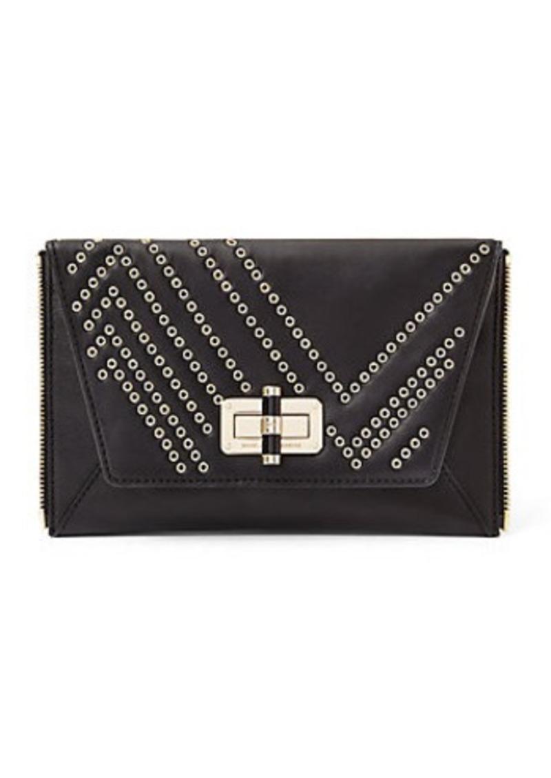 Diane Von Furstenberg Agent Alicia Eyelet Leather Zip On Clutch