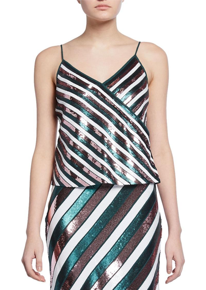 Diane Von Furstenberg Agnes Sequin Stripe Silk Camisole