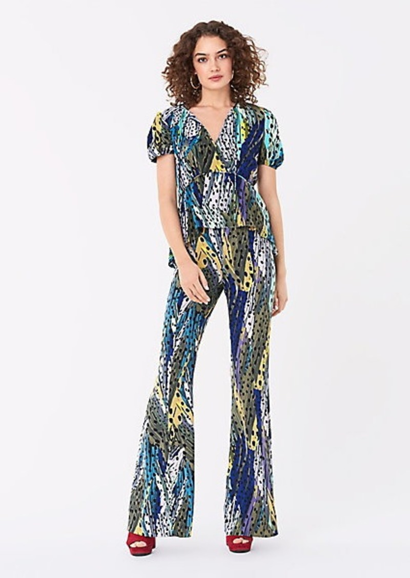 Diane Von Furstenberg Aja Stretch-Georgette Flared Pants