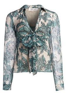 Diane Von Furstenberg Alastor Silk-Blend Floral Tie-Bow Shirt