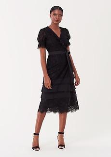 Diane Von Furstenberg Alena Floral Lace Midi Wrap Dress