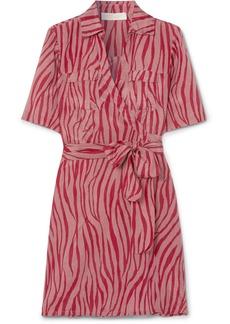 Diane Von Furstenberg Alexa Tiger-print Cotton And Silk-blend Voile Wrap Mini Dress