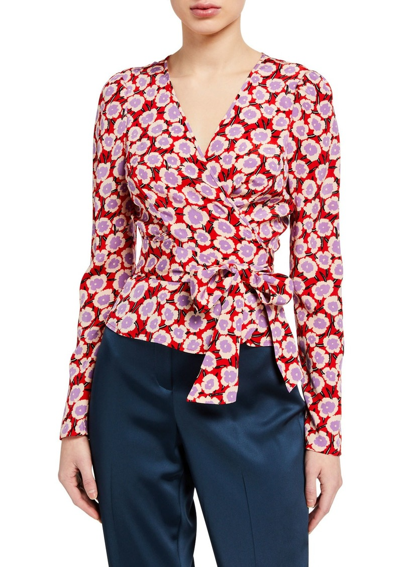 Diane Von Furstenberg Alexia Floral Long-Sleeve Wrap Top