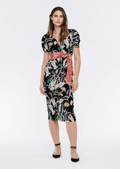 Diane Von Furstenberg Alexia Silk-Cady Wrap Top in Bali Flower