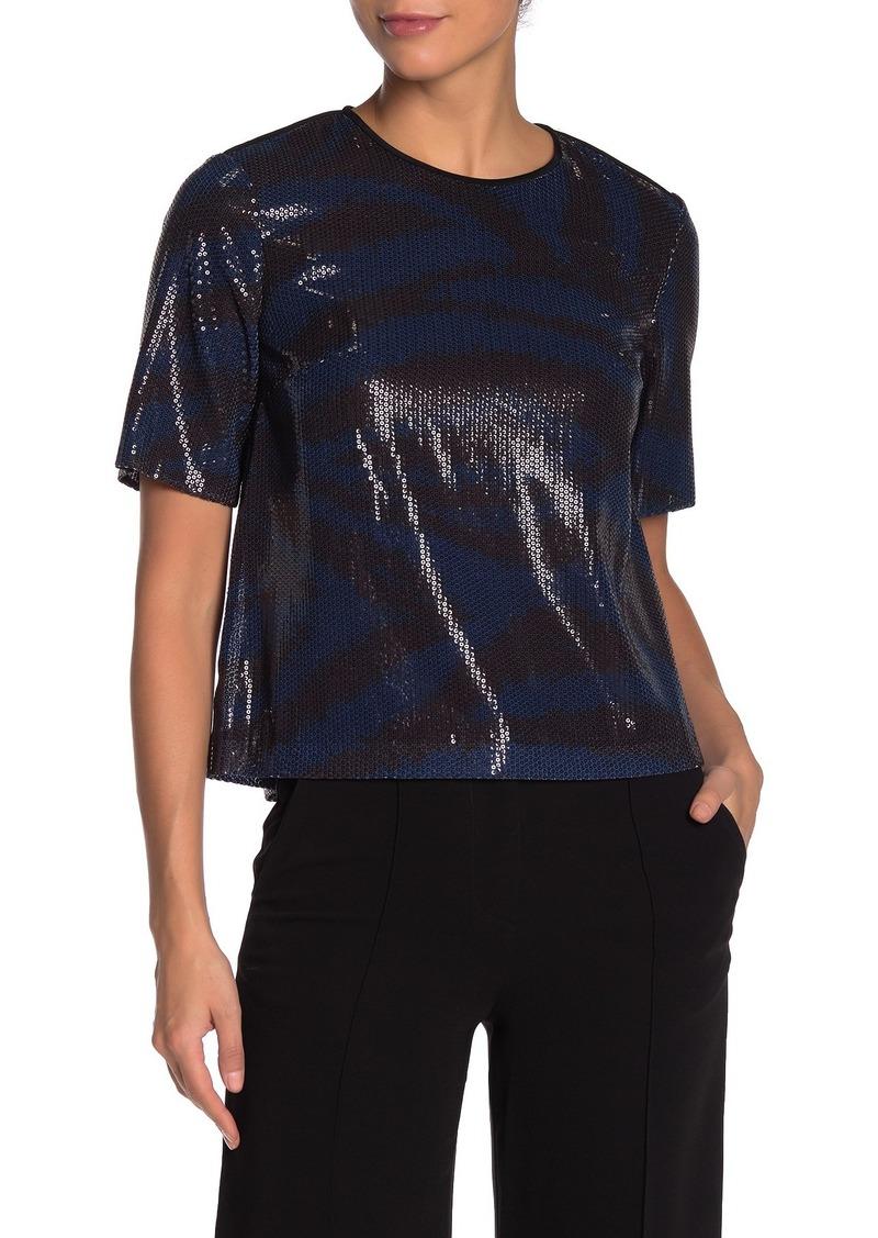 Diane Von Furstenberg Ali Sequin Tiger Print Top