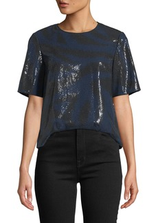 Diane Von Furstenberg Ali Sequined Animal-Print Tee