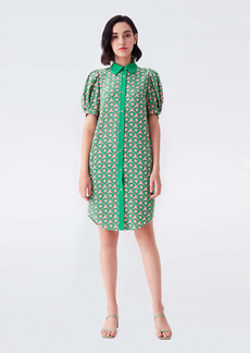 Diane Von Furstenberg Amanda Crepe-Blend Belted Shirt Dress in Fun Club Green