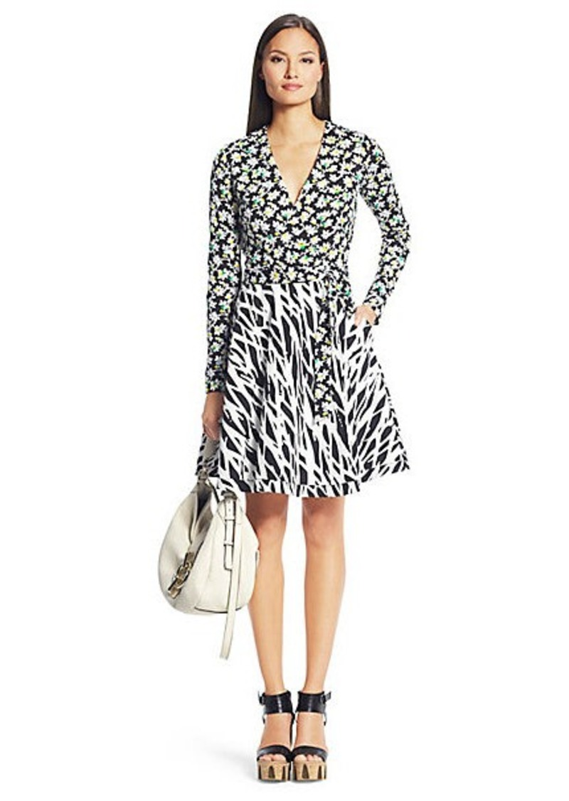 Diane Von Furstenberg Amelia Printed Silk Combo Wrap Dress