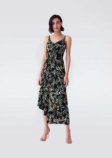 Diane Von Furstenberg Amy Matte-Jersey Asymmetrical Slip Dress in Modern Chain Black