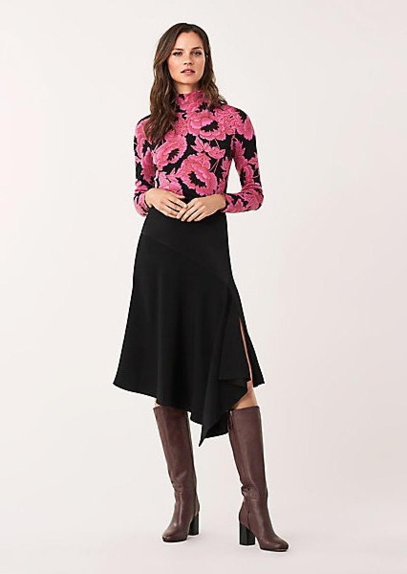 Diane Von Furstenberg Analisa Satin-Back Crepe Asymmetrical Skirt