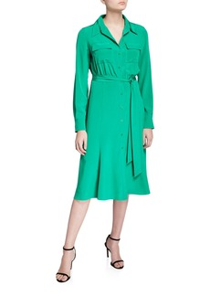 Diane Von Furstenberg Antonette Belted Silk Shirt Dress