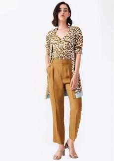 Diane Von Furstenberg April Silk Crepe De Chine Jacket in Bali Leopard