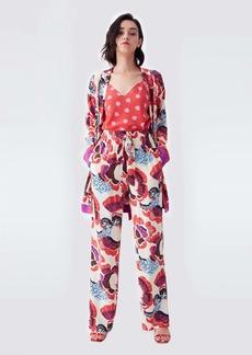 Diane Von Furstenberg April Silk Crepe De Chine Jacket in Chickpea Dot & Waxed Cloth