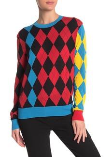 Diane Von Furstenberg Argyle Print Crew Neck Sweater