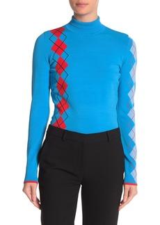 Diane Von Furstenberg Argyle Turtleneck Sweater