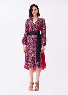 Diane Von Furstenberg Ariadne Silk Crepe De Chine Wrap Dress in Sea Ground Red/ Hot Pink