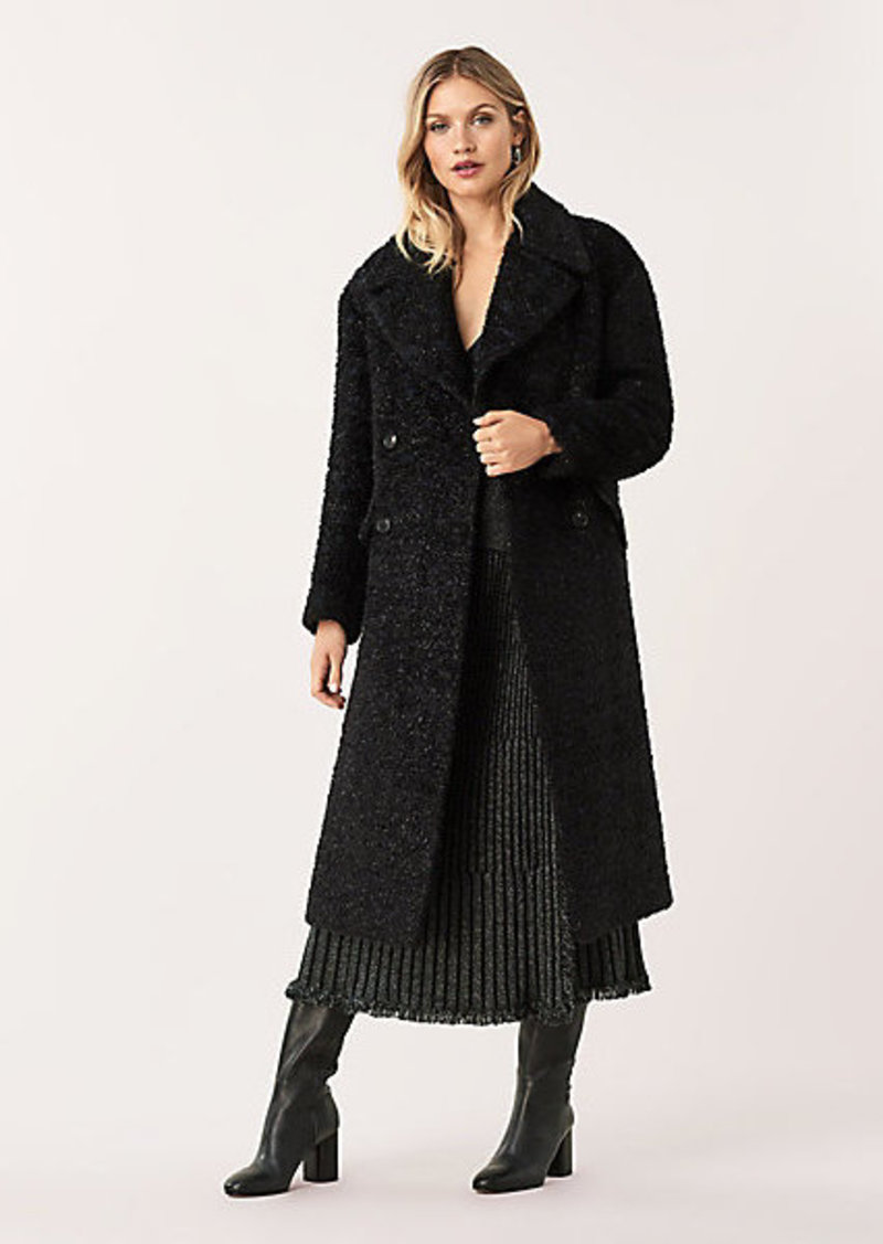 Diane Von Furstenberg Ariana Metallic Tweed Double-Breasted Coat