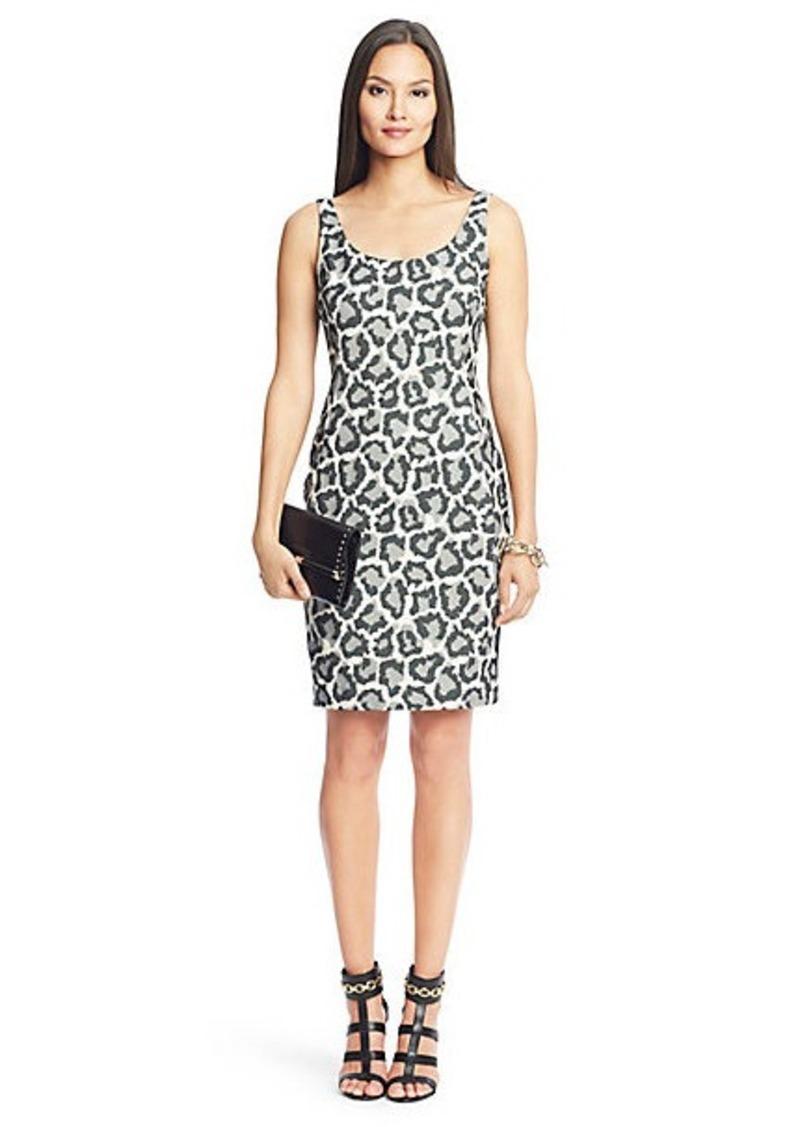 Diane Von Furstenberg Arianna Leopard Combo Scoop Neck Dress