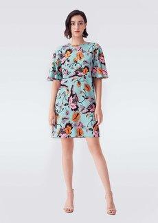 Diane Von Furstenberg Arlene Cady Mini Dress in Tulle Flower Green
