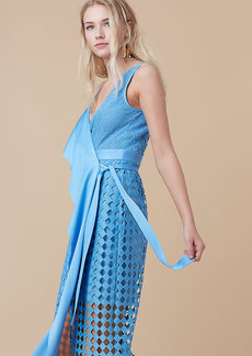 Asymmetric Lace Wrap Dress