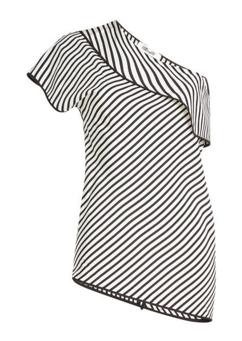 3ff79c50a2d9d Diane Von Furstenberg Asymmetric Printed Silk Top Now  167.00