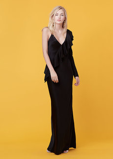 Asymmetric Ruffle Sleeve Floor Length Dress