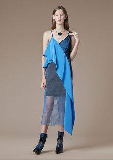 Asymmetric Sleeve Sash Dress