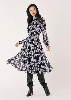 Diane Von Furstenberg Athena Smocked Silk-Chiffon Midi Dress