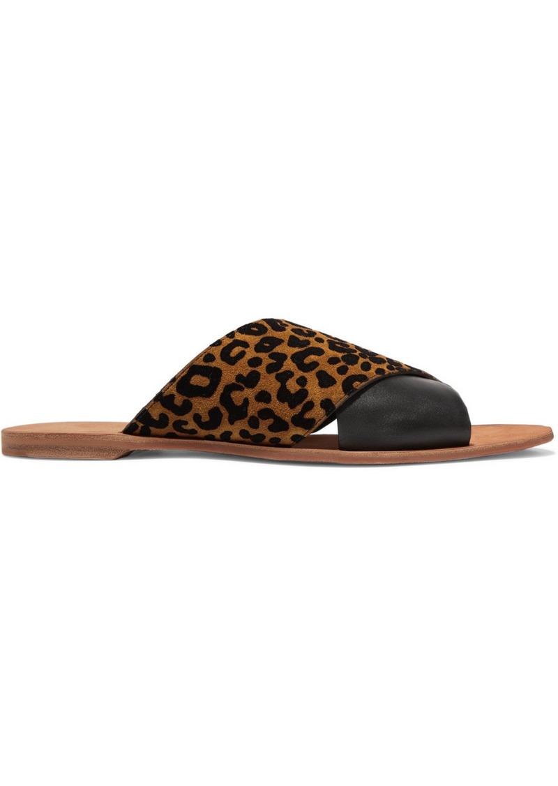 Diane Von Furstenberg Bailie Leopard-print Suede And Leather Slides