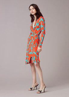Banded Long-Sleeve Wrap Dress