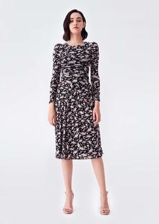 Diane Von Furstenberg Barbara Reversible Mesh Dress in Tulle Flower Khaki
