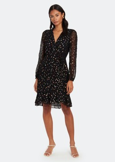 Diane Von Furstenberg Bea Metallic Ruched Flounce Mini Dress