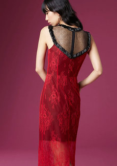 Beaded Overlay Lace Dress