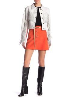 Diane Von Furstenberg Belted Suede Mini Skirt
