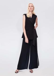 Diane Von Furstenberg Bernice Satin-Back Crepe Jumpsuit in Black
