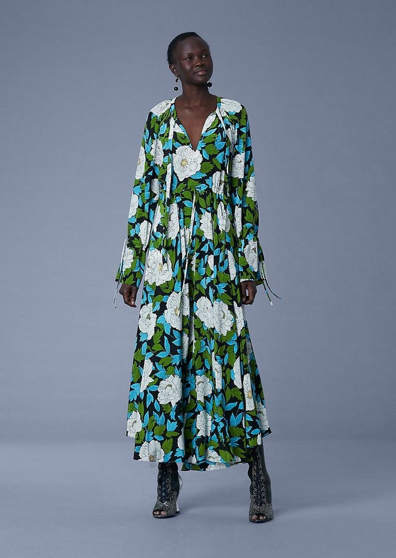 Diane Von Furstenberg Bethany Cinch Sleeve Maxi Dress